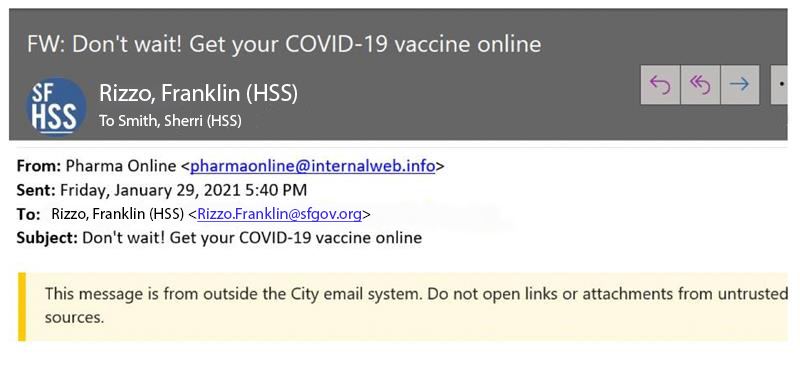 Covid-19 Vaccination email Phishing example