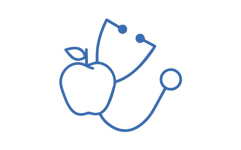 Line Drawing of Stethoscope and Apple