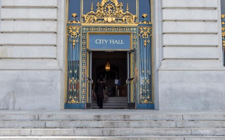 Image of City Hall entrance and steps facing the Civic Center park.