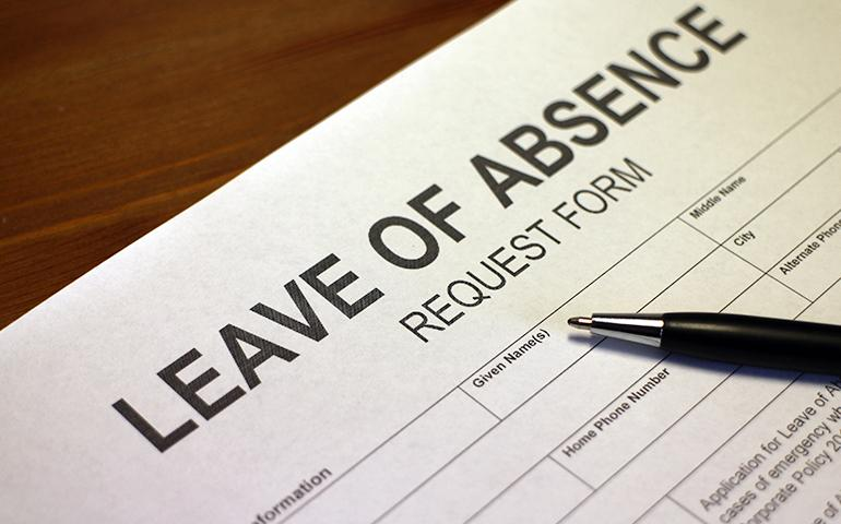 "Image of a generic blank form titled ""Leave of Absence."""