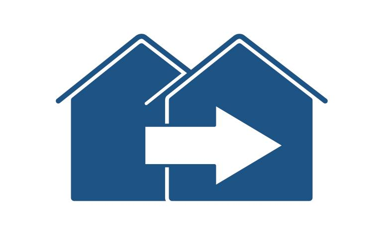 Drawing of two blue houses with arrow pointing towards new address.
