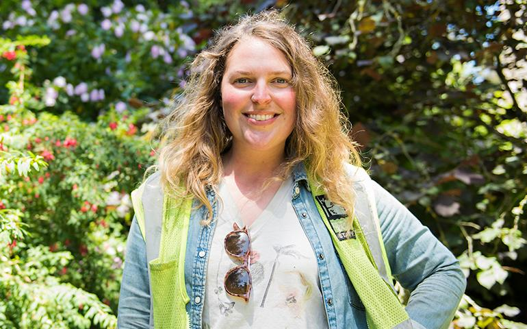 Photo of female gardener standing in Golden Gate Park.