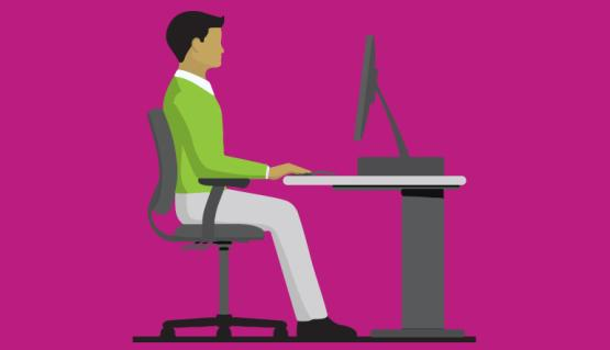 Employee sitting at desk